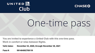 2 United Club Passes Digital Delivery November 30 2021 Expiration