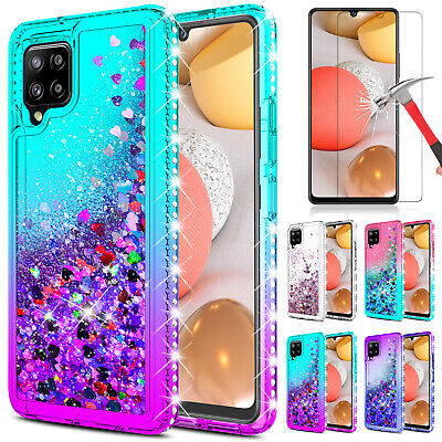 For Samsung Galaxy A42 5G Phone Case Liquid Bling Cover  Glass Screen Protector
