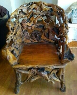 RARE Antique Handmade BURL Wood Chair- AMAZING Piece Heavy - Sturdy Must SEE