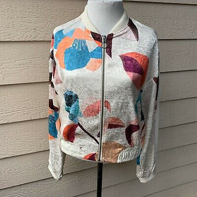 Anthropologie Elevenses Geo Bomber Women Jacket Cocktail Party Long Sleeve S
