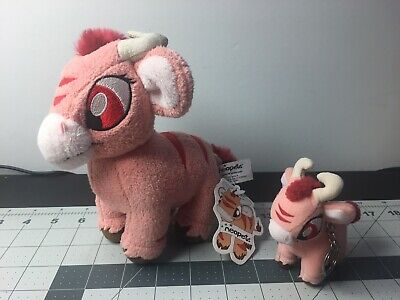 Lot of 2 Neopets Kau Red Pink Plus 7 w Tag - 4 Keychain 2002 Limited Edition