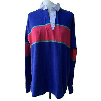 Thatcher - Cross Rugby Gear Polo Shirt Women Long Sleeve Striped Vintage L