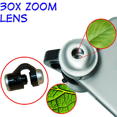 30X Cell Microscope Zoom Lens LED Clip-On Phone Camera Accessories-Micro Lens US