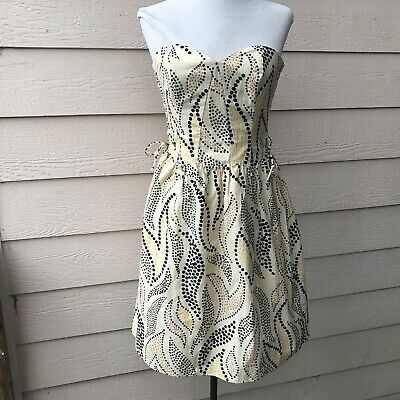 Anthropologie Anna Sui Stippled Deciduous Dress Yellow Strapless Party Short 4