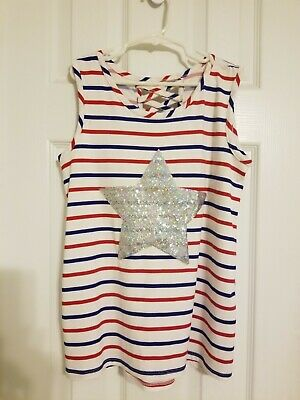 Girls Fourth of July Tank Top red white blue- Size 12