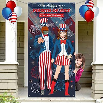 Patriotic Fourth of July Uncle Sam Photo Door Banner Photo Backdrop Prop Large
