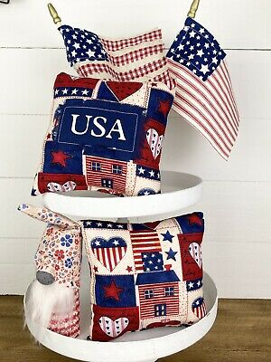 Patriotic Fourth Of July tiered tray decor Set Gnome Mini Pillow Primitive Flags