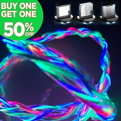 3FT Magnetic Light Up LED USB Phone Charger Cable Cord For iPhone Type C Micro