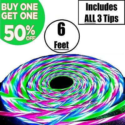 6FT Magnetic Light Up LED USB Phone Charger Cable Cord For iPhone Type C Micro