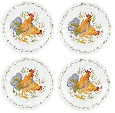 New Corelle Country Morning 10-25 Dinner Plates - Set of 4 white rooster