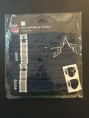 Dallas Cowboys YOUTH SIZE Licensed 2 Pk Face Mask Covering 50 Off SRP FREE S-H