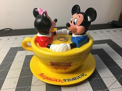 Vintage TOMY 1990 Disney Mickey Minnie Musical Teacup Electronic RARE Works