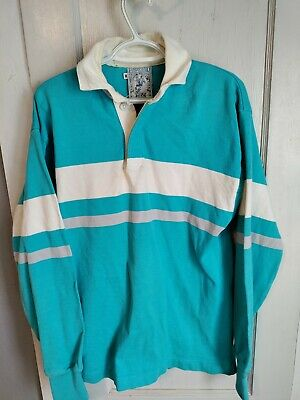LANDS END vintage rugby polo longsleeve shirt size Medium 90s USA colorful