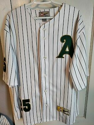 Baseball AUTHENTIC Oakland A's Jersey 25 White With Green Stripes Size Large