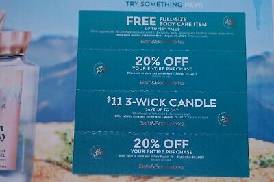 Bath and Body Works Coupons 4 Coupons Full Size Body Care Two 20 Off Candle
