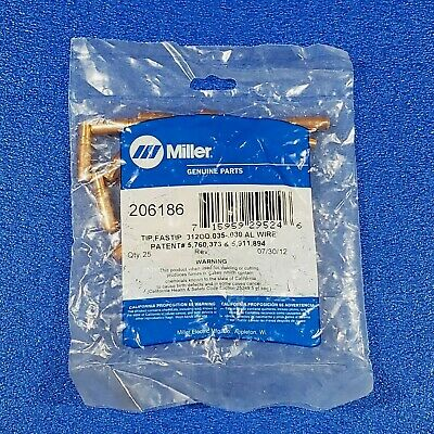 NEW MILLER GENUINE 25 PACK 206186 -312OD -030 - -035 MIG WELDING CONTACT TIPS