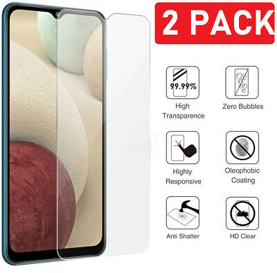 2 Pack For Samsung Galaxy A12 5G Premium Clear Tempered Glass Screen Protector