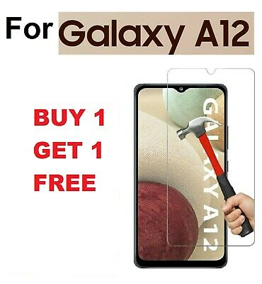 2 Pack For Samsung Galaxy A12 Clear Tempered Glass Screen Protector Cover Guard