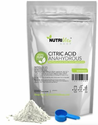 5 lbs 100 PURE CITRIC ACID ANHYDROUS -KOSHERPHARMACEUTICAL USP32 GRADE-