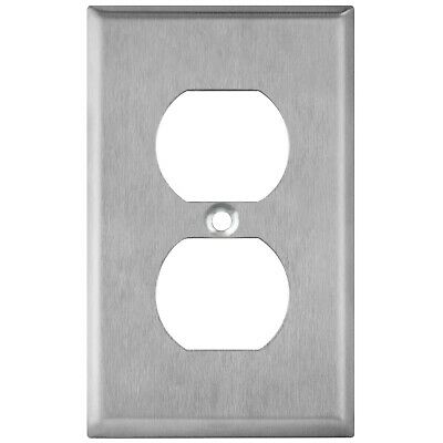 Brushed Stainless Steel Outlet Cover Duplex Receptacle Wall Plates 1 2 3 4 Gang