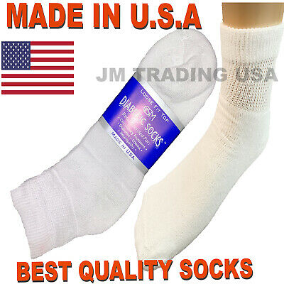BEST QUALITY 12 pair of mens white diabetic ankle socks 10-13 size  MADE IN USA