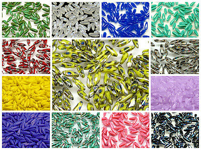 CHOOSE COLOR 50pcs 10x3mm Small Dagger Beads Czech Pressed Glass