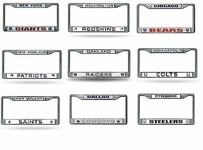 NFL Teams Chrome Metal Laser Cut License Plate Frame New