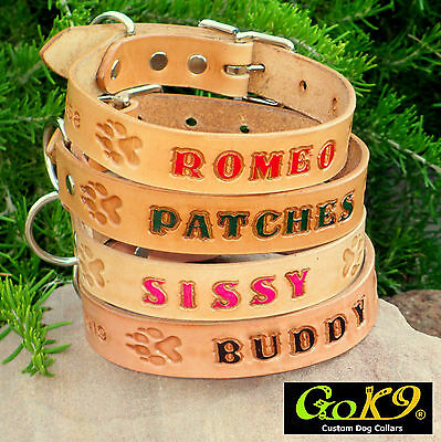 TAN 1 inch LEATHER DOG COLLAR Personalized Pet Name Opt Phone  with Paw Prints