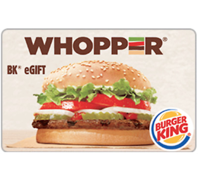 Burger King Gift Card - 25 50 or 100 - Email delivery