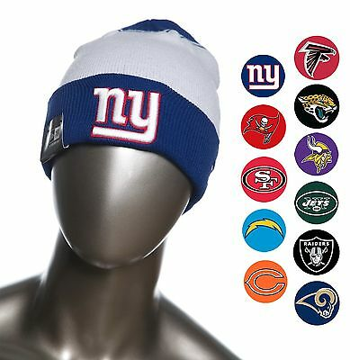 New Era NFL Team Cuffed Beanies  Knit Caps Fall with Raised Puff logo
