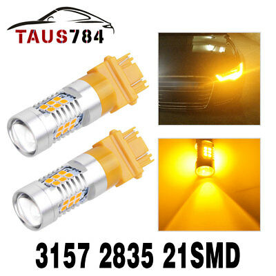2X 3157 3156 21-SMD 2835 YellowAmber Turn Signal LED Light Bulbs Parking Light
