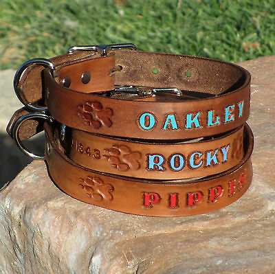 Brown 1 Real Leather Dog Collar Personalized Pet Name Optional Phone Number