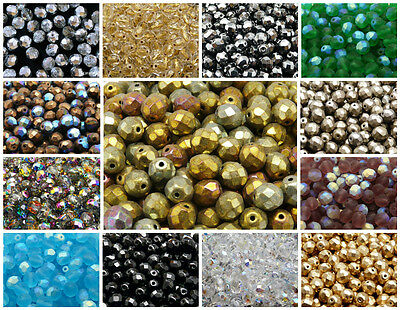 CHOOSE COLOR 25pcs 8mm Fire Polished Faceted Round Beads Czech Glass