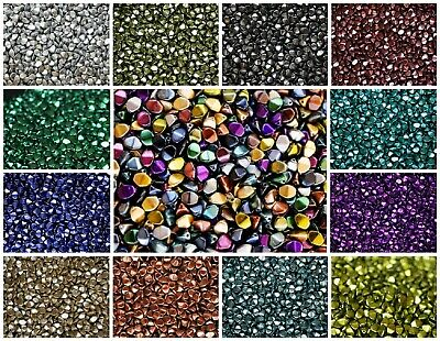 CHOOSE COLOR 50pcs 5x3-5mm Pinch Beads Metallic Colors Czech Pressed Glass