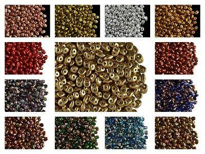 CHOOSE COLOR 20g 2-5x5mm 2-hole SuperDuo Seed Beads Czech Pressed Glass