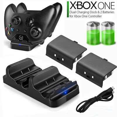 XBOX ONE Dual Charging Dock Station Controller Charger w 2 Rechargeable Battery