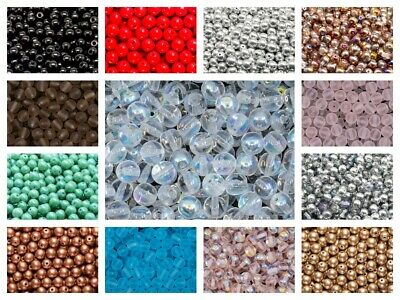 CHOOSE COLOR 50pcs 6mm Round Pressed Beads Czech Glass