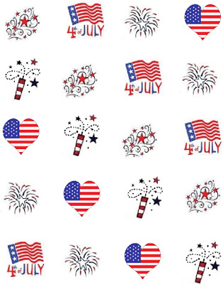 Red White - Blue 4th of July  Waterslide Water Transfer Nail Decals Nail Art