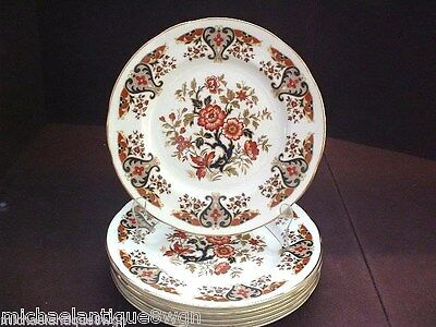 6 Elegant English Colclough Porcelain Salad Plates in The Royale Pattern 8525
