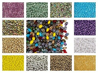 CHOOSE COLOR 10g 2x4mm 2-hole MiniDuo Seed Beads Czech Glass