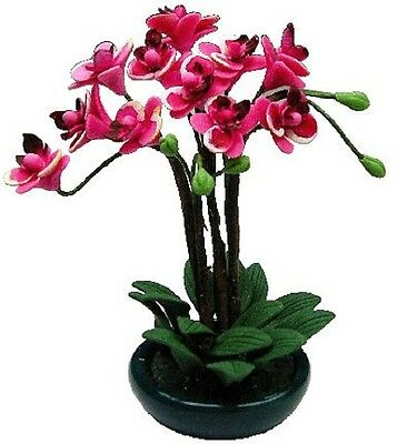 Dollhouse Miniature Pink Orchid Arrangement in Bowl Planter by Bright deLights