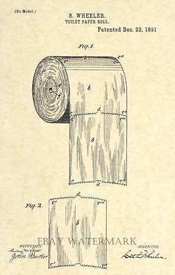 Original Toilet Paper Roll 1891 US Patent Art Print - Bathroom Decor- Vintage 60