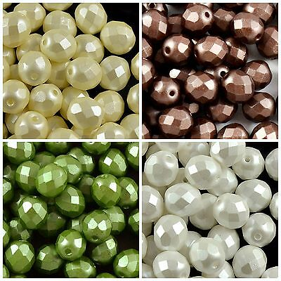 CHOOSE COLOR 25pcs 8mm Fire Polished Round Pastel Beads Czech Glass