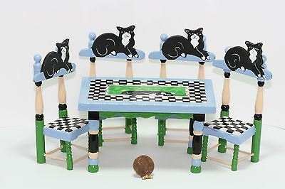 Dollhouse Miniature Whimsical Black Cat Table - Chairs Set by Eye Candy