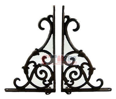 2 Ornate Rustic Cast Iron Brackets Braces with Scrolls Doorway Accent 9-25 x 6
