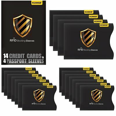 RFID Blocking Tearproof Waterproof Sleeves for 14 Credit Card -4 Travel Passport