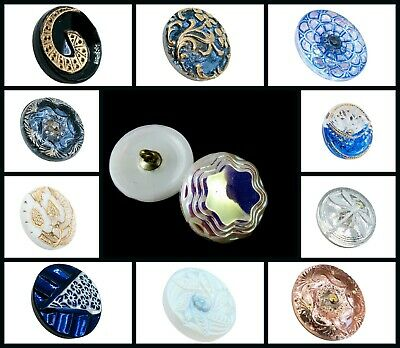CHOOSE COLOR 1pc Size 8 18mm Hand Made Art Button Czech Glass