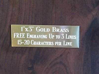 1x3 GOLD BRASS NAME PLATE ART-TROPHIES-GIFT-TAXIDERMY-FLAG CASE FREE ENGRAVE