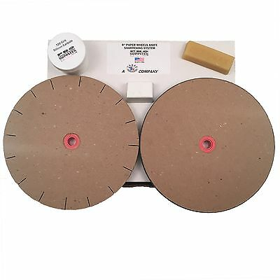 8 Paper Wheels Knife Sharpening System for 6 Grinders - 2 Wheels Wax - Rouge
