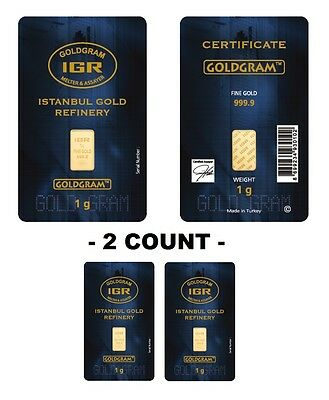 Lot of 2 - 1 Gram IGR Mint 999-9 Gold Bar Sealed with Assay Certificate 24 Karat